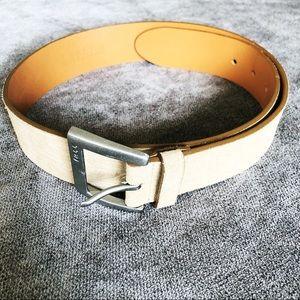 Ralph Lauren Ivory Suede & Leather Belt. EUC